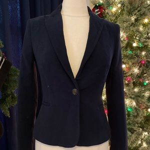 Zara Basic Navy FANCY & SOFT Velvet Blazer Size S